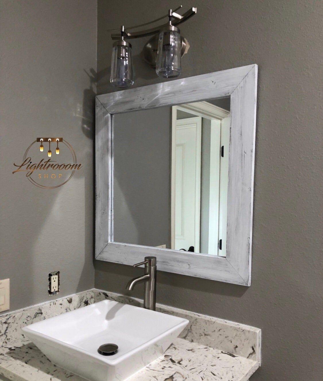 White Whitewash Wood Mirror Framed Mirror Rustic Wood Mirror
