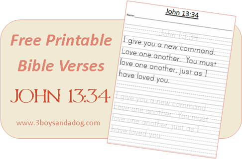 photograph about Free Printable Bible Verses Handwriting named Absolutely free Printable Bible Verses: John 13:34 Homeschooling