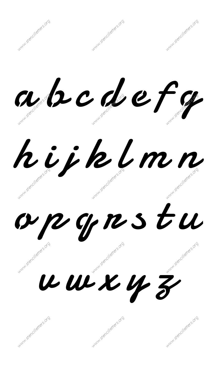 Display Script Cursive A to Z lowercase letter stencils ...