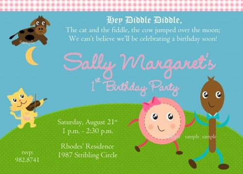 Nursery Rhyme Hey Diddle Diddle Girl First Birthday Party Invitation