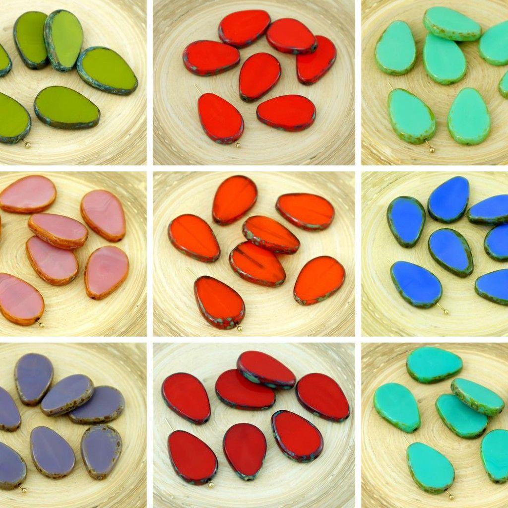 4pcs Picasso Brown Flat Teardrop Window Table Cut Czech Glass Beads 18mm x 12mm