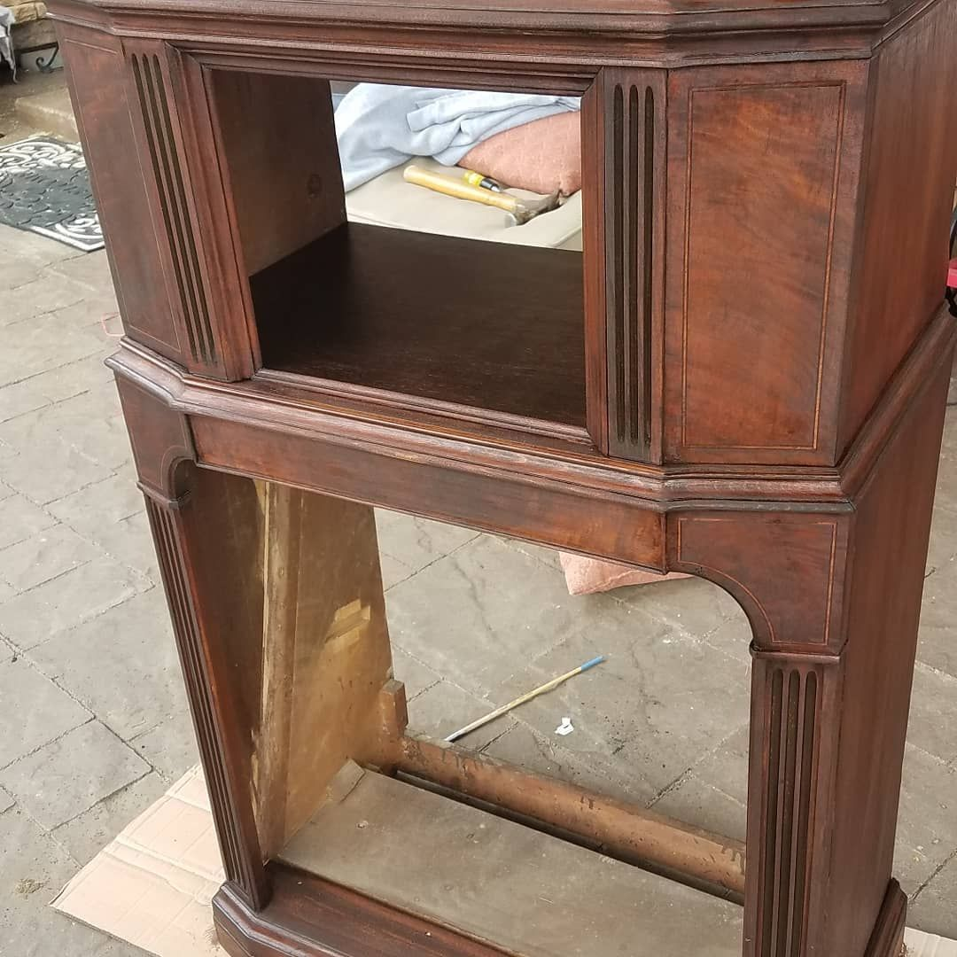 First Coat Of Stain Gorgeous Trying To Beat The Weather Cloudy And Cold But She Ll Get Done Antiqueradiore With Images Staining Wood Upcycled Furniture Wine Storage