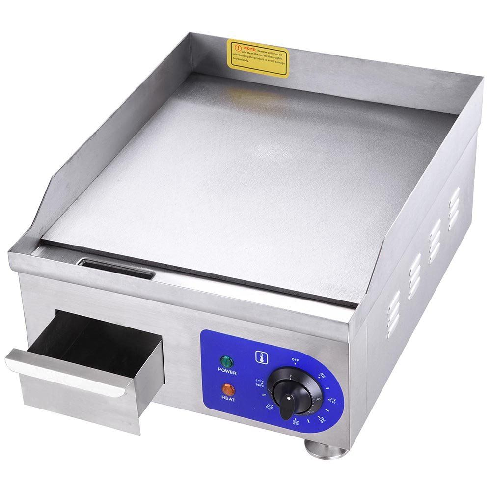Yescom 1500w 14 Electric Countertop Griddle Stainless Steel Adjustable Temp Control Commercial Stainless Steel Countertops Electric Griddle Commercial Electric