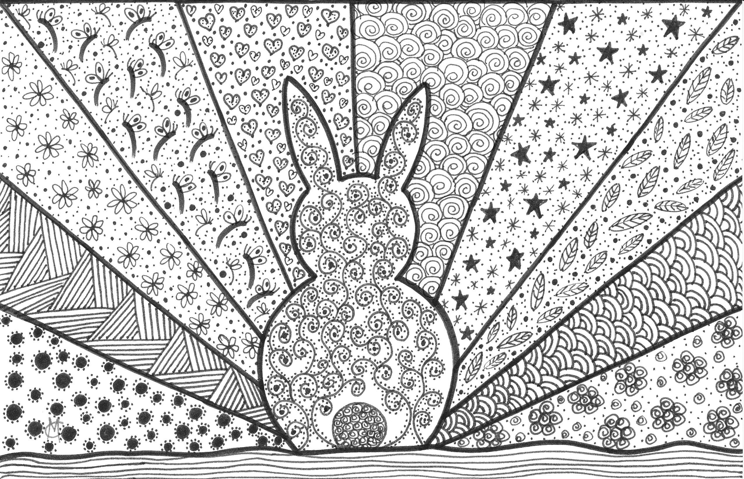Bunny Doodle An Original Artwork By Cat Magness Geometric