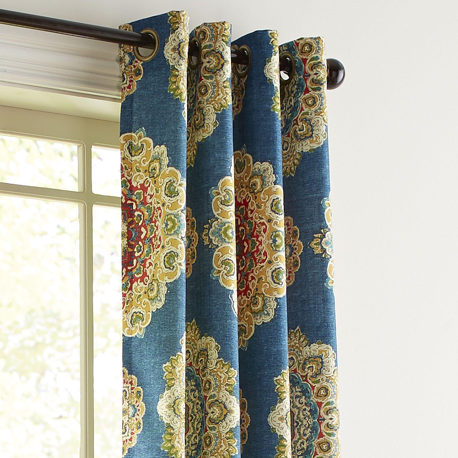 """Suzani Navy 84"""" Grommet Curtain"""