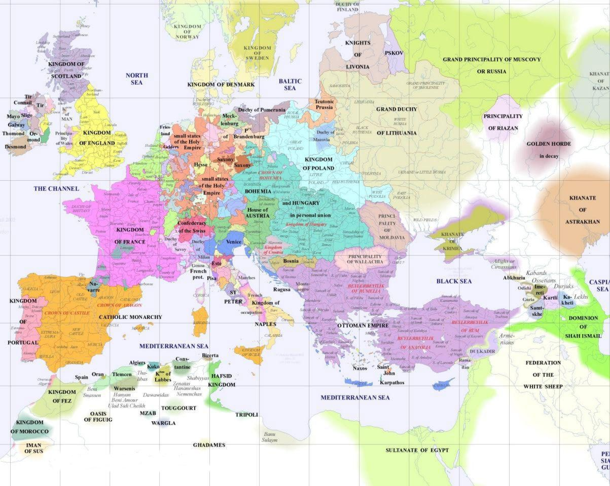 Europe Political Map 1500