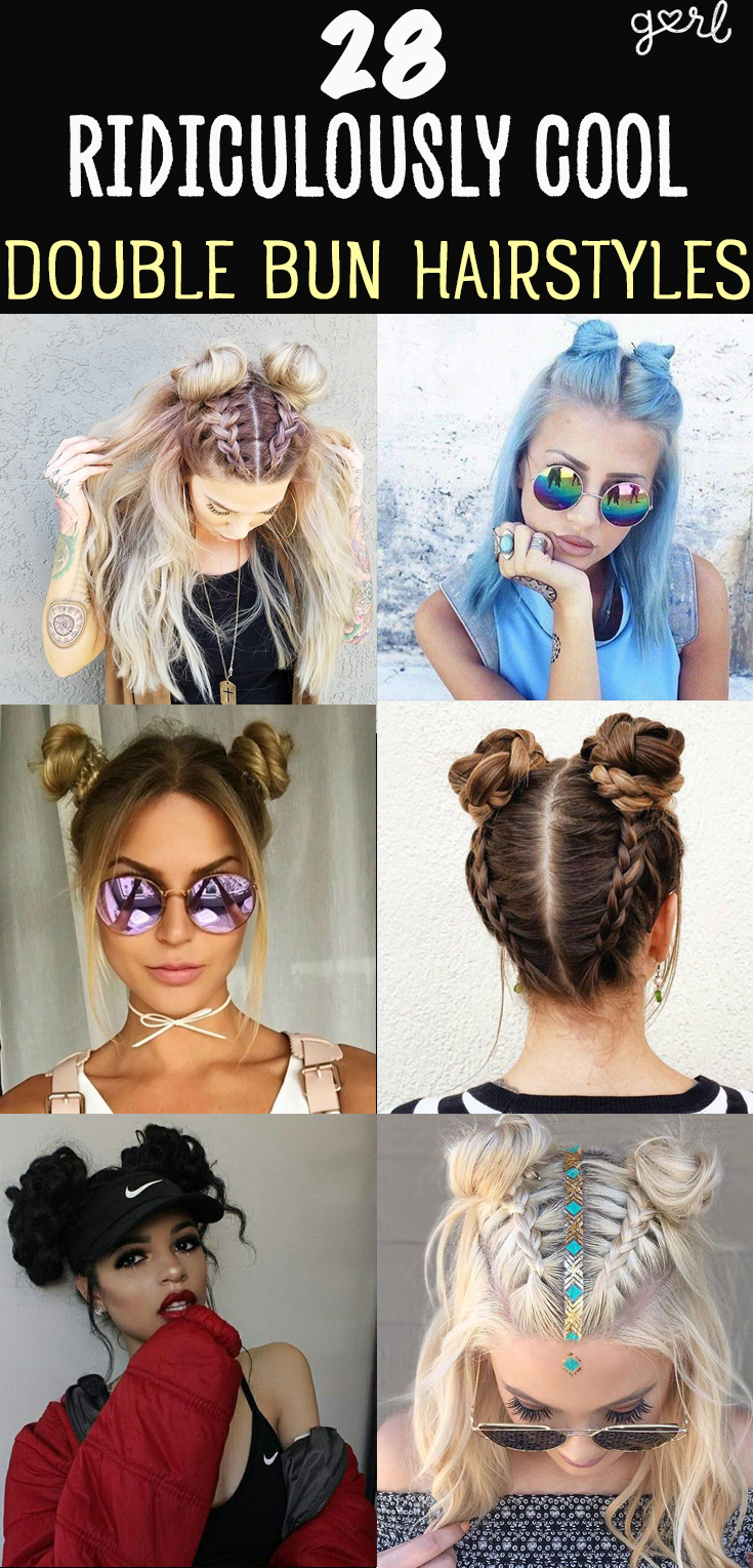 Say Goodbye To The Half Up Half Down Bun Double Buns Have Officially Taken Over As The Trendiest Cool Girl Hairstyle Of Hair Styles Bun Hairstyles Hairstyle