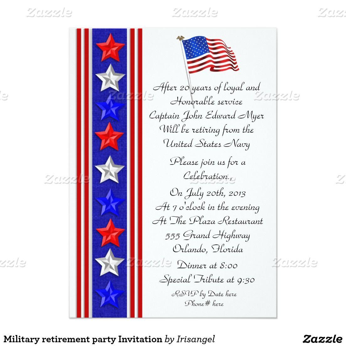 Military retirement party Invitation 5 X 7 Invitation Card – Military Retirement Party Invitations