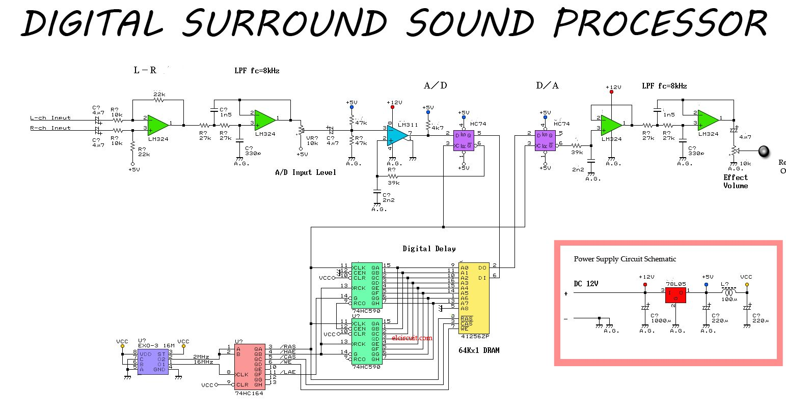 simple surround sound processor circuit electronic circuit [ 1543 x 820 Pixel ]
