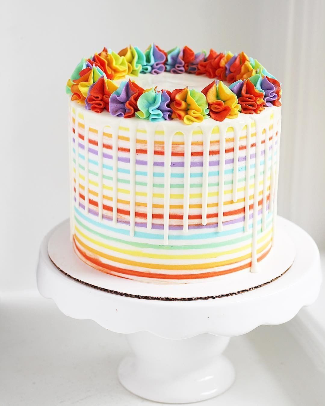 We Re Loving This Striped Buttercream Rainbow Cake By
