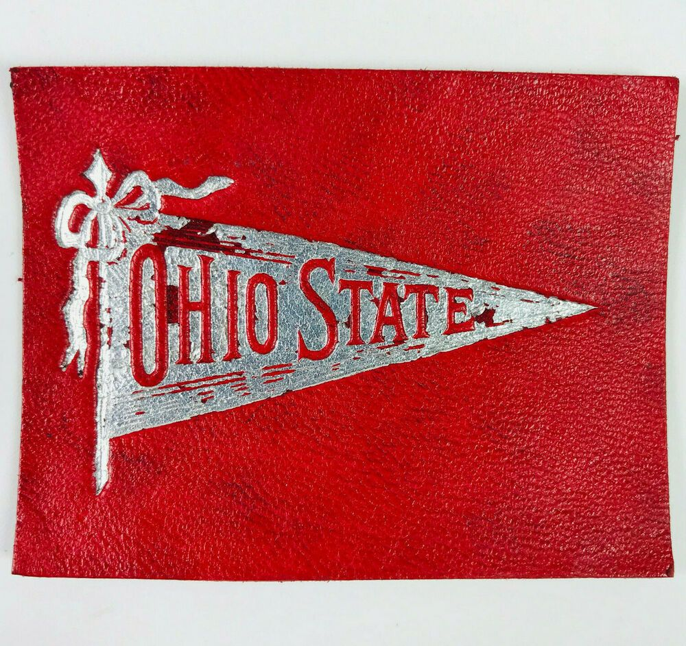 Ohio state university columbus tobacco leather patch card
