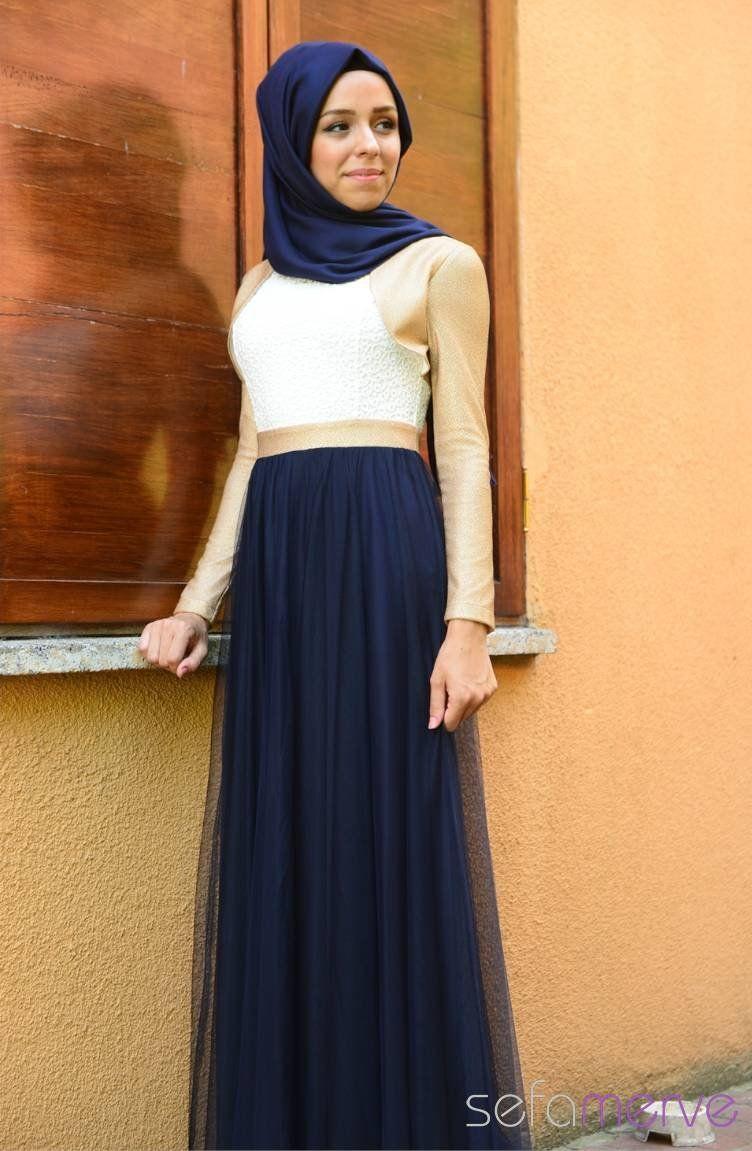Tesettur Elbise Fy 52050 03 Lacivert Islami Moda Musluman Modasi Moda Stilleri