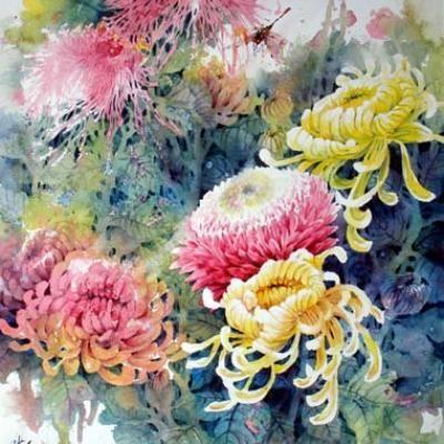 Chrysanthemum Watercolor Art Painting Techniques Flower Painting Watercolor Art Paintings Chrysanthemum Watercolor