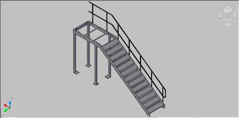 Escalera recta de un tramo de estructura met lica en 3 for Escaleras metalicas planos