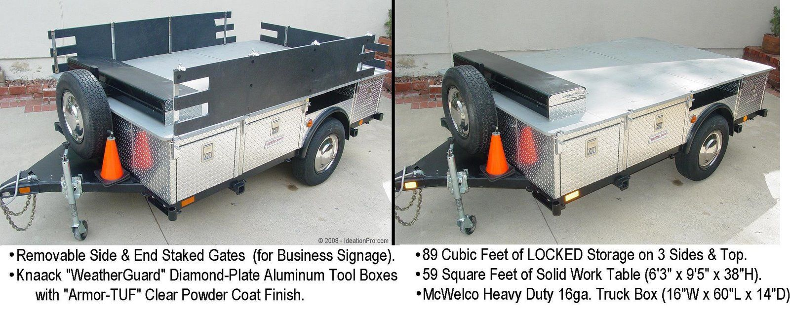 """12½ x 6½ ft TOOL TRAILER KNAACK """"WEATHER GUARD"""" BOXES"""