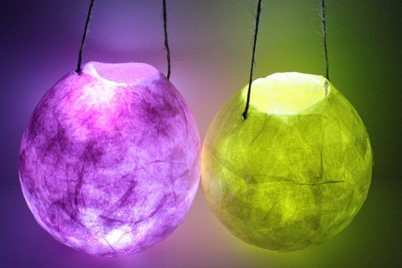 Hanging Paper Lantern Faerie Lights Small Mache Lanterns Set Of Three Led Included 30 00 Via Etsy