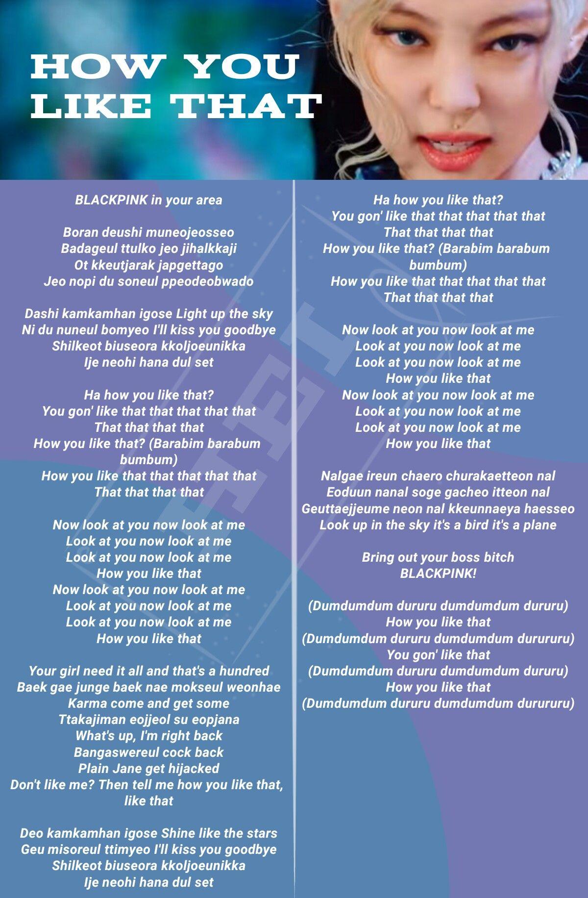 Blackpink How You Like That Easy Lyrics Kutipan Lirik Lirik Lagu Lagu