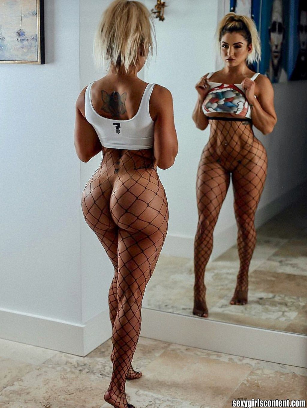 1 Hot Thick Blonde Girl Fishnet Pantyhose Big Booty Htg25 721x958