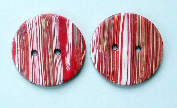 Handmade buttons, handmade polymer clay buttons, clay buttons, striped buttons