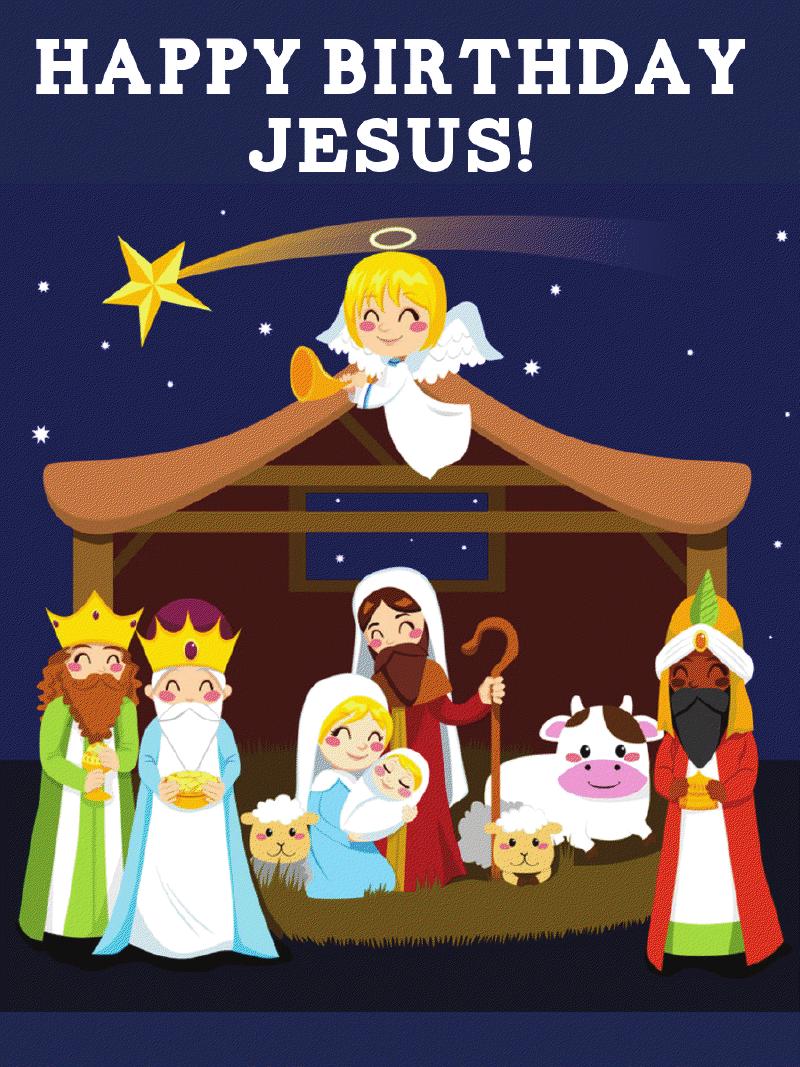Jumbo Happy Birthday Jesus Nativity (10 Count