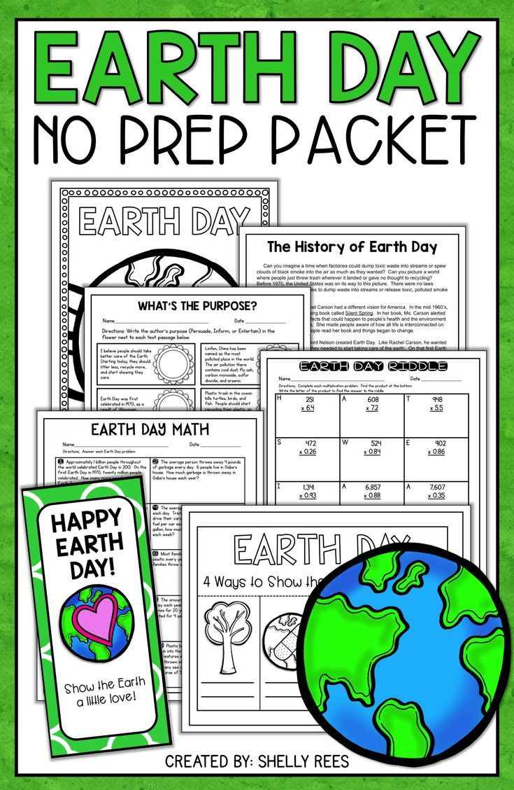 Earth Day Activities Math word problems Math words and Reading