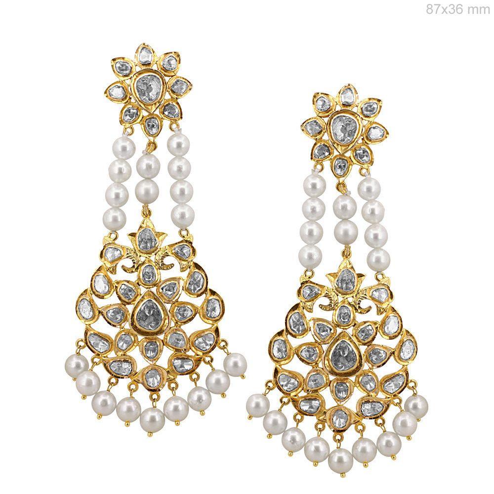18k yellow gold rose cut 430ct diamond pearl dangle chandelier 18k yellow gold rose cut 430ct diamond pearl dangle chandelier earrings wedding arubaitofo Choice Image