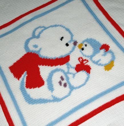 Crochet Pattern | Baby Blanket / Afghan - Bear and Penguin | COBIJAS ...