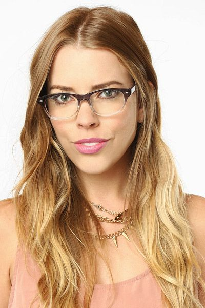 'Riley' Gradient Frame Skinny Clear Glasses - Ruby #5125-3