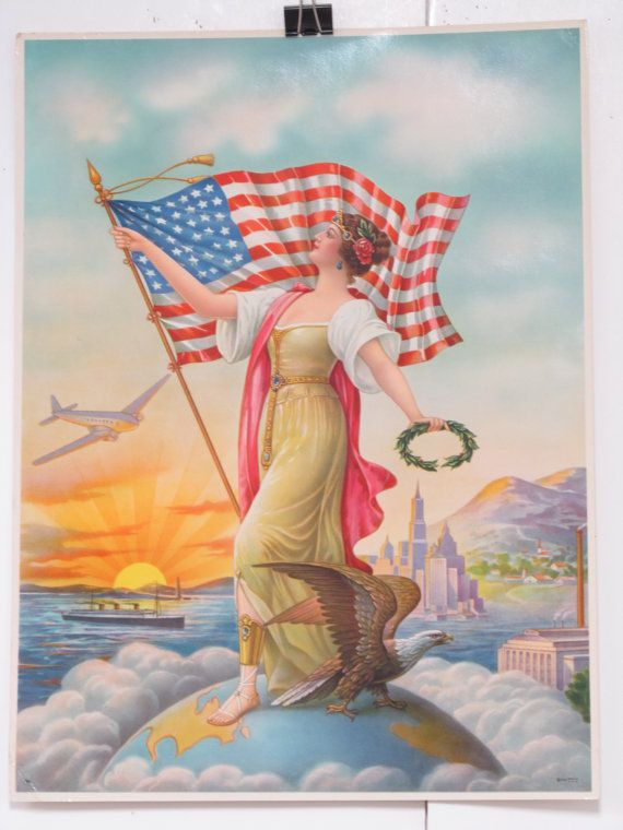 Original Vintage Lady Liberty and her Flag Poster by HodesH