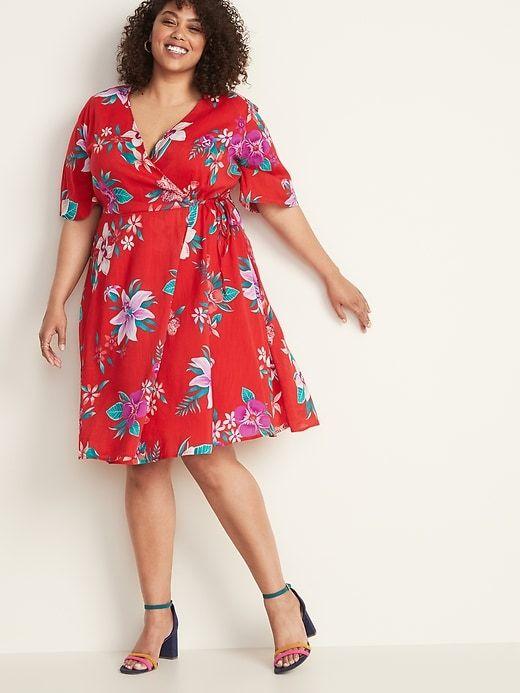 Old Navy Women's Faux Wrap Waist Defined Plus Size Dress Red