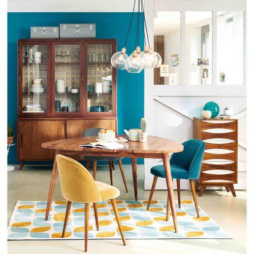 sedia vintage in velluto grigio antracite e betulla. Black Bedroom Furniture Sets. Home Design Ideas