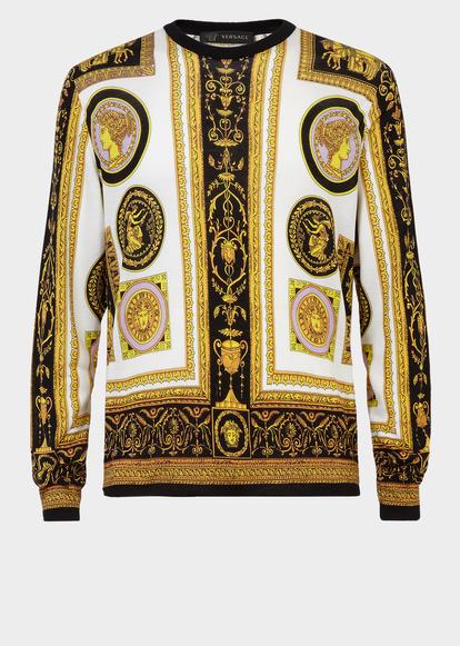 eb3db01e3702 Cornici Print Silk Sweater - Versace Sweatshirts   shirt   Versace ...