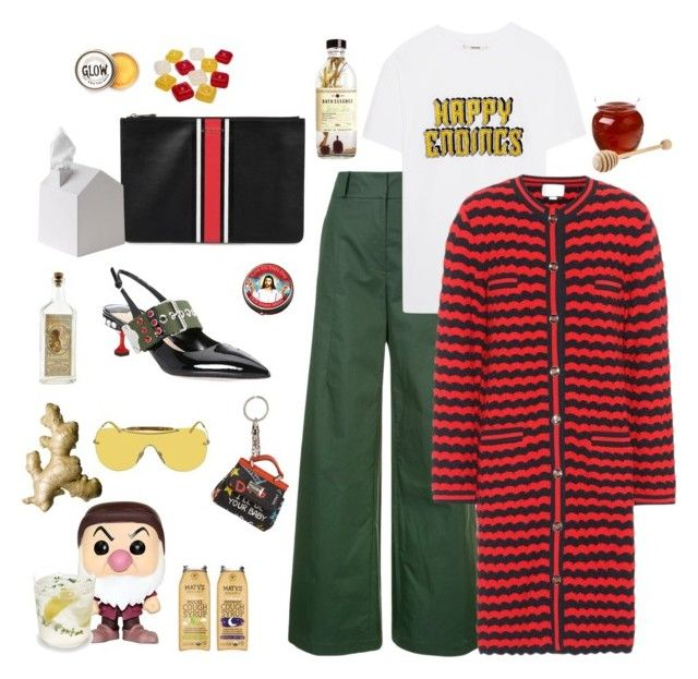 """""""I'm soooo happy that I catched this lovely cold"""" by juliabachmann ❤ liked on Polyvore featuring Funko, Oscar de la Renta, Ganni, Gucci, Dolce&Gabbana, Givenchy, Miu Miu, Umbra and Peter Hall & Son"""