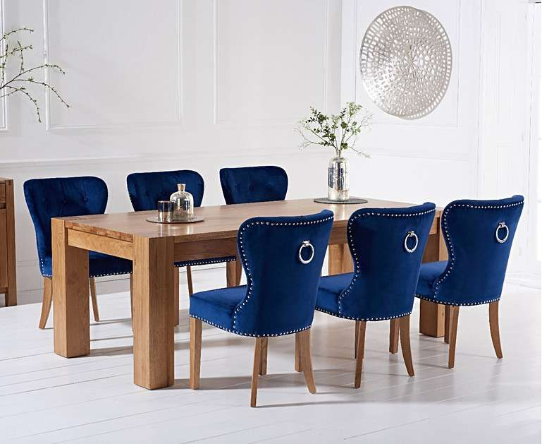 Thames 220cm Oak Dining Table With Knightsbridge Velvet Chairs In