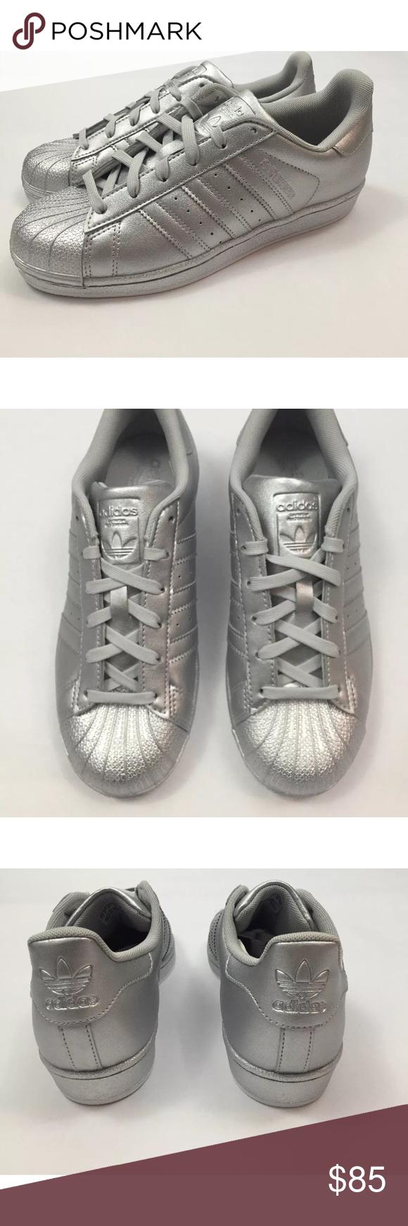 Adidas superstar silver metallic shell