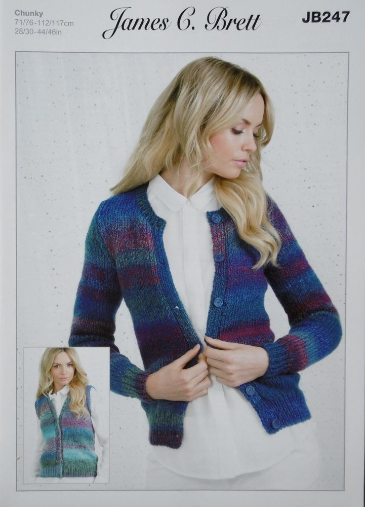 baa0bb6cd2481 James C brett Chunky Knitting Pattern Cardigan And Waistcoat JB247 ...