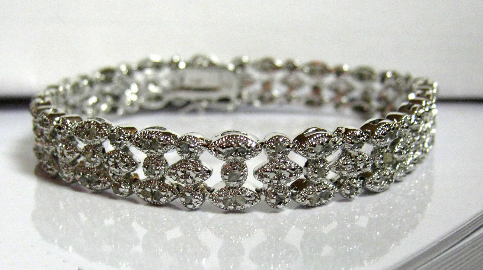 Row ct diamond tennis bracelet sterling silver marquise
