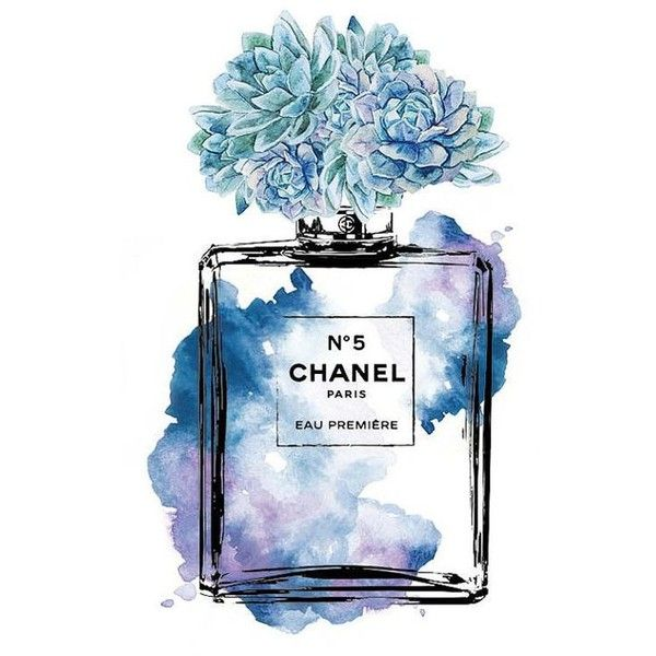 Perfume And Water Tattoo: Chanel No.5 Watercolor Mint Purple PRINTABLE A4