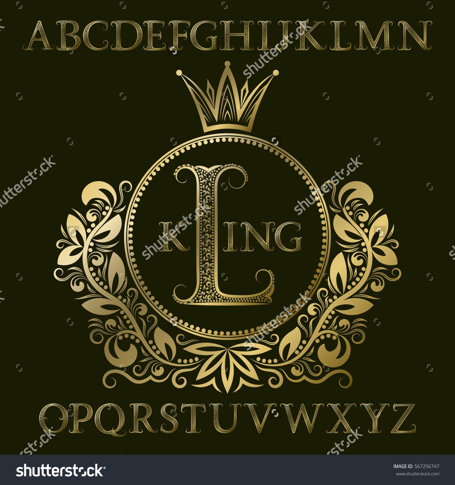 golden patterned  letters and initial  monogram in coat of