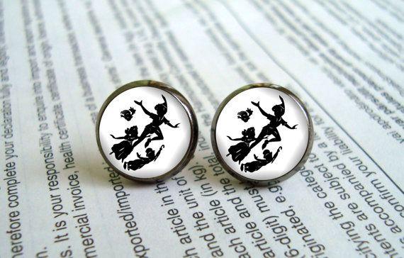 Peter Pan and Wendy earrings stud ear post Geeky by EarringWorld1, $7.00
