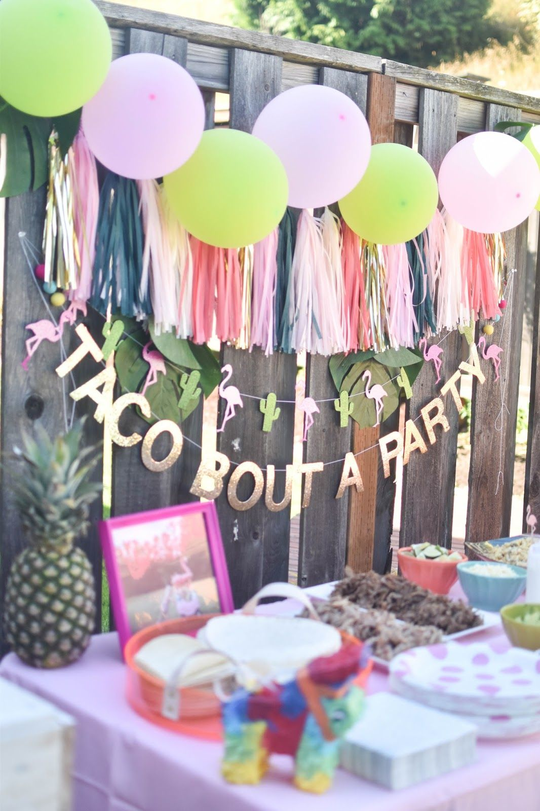 Party table from a Cactus Flamingo First Birthday Fiesta on