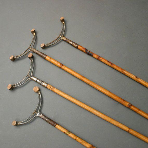 vintage shuffle board sticks bamboo collection of 4 circa 1920s