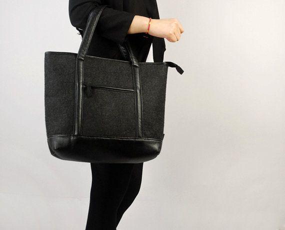 1963a8987ecb Black Felt Purse Shoulder Bag Felt Shopping Bag Laptop Bag Hand Bag ...