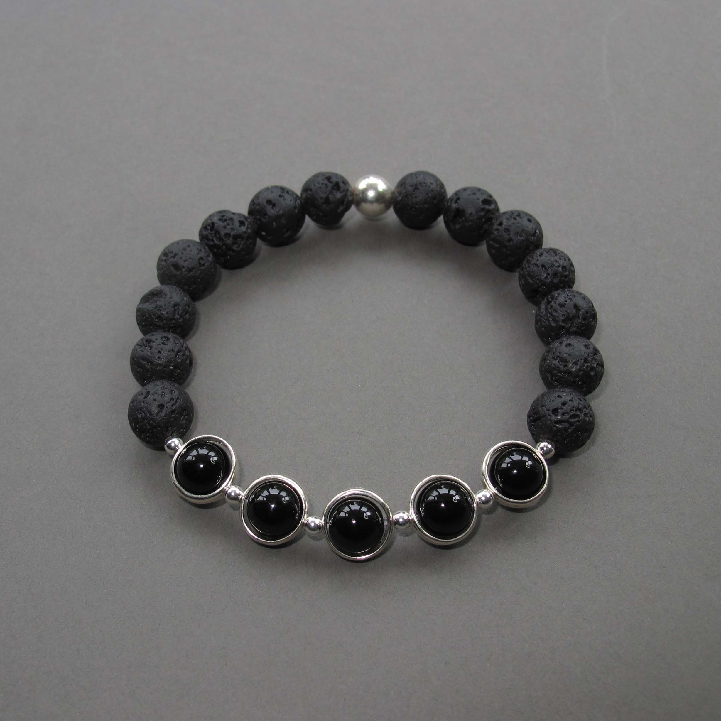 Black onyx and lava bracelet for men with sterling silver