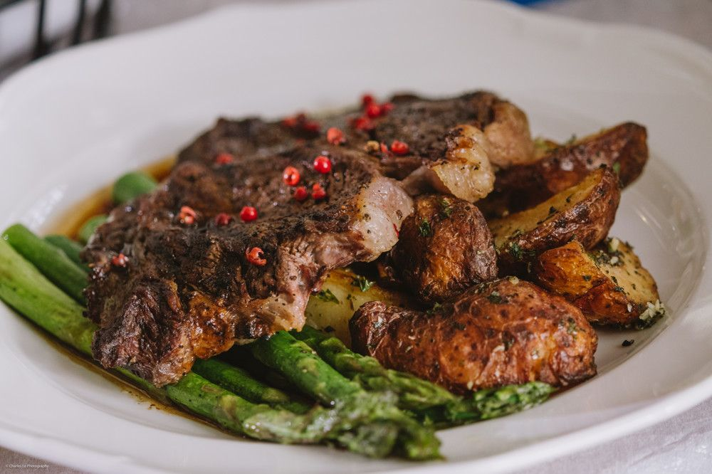Pink Peppercorn Rib Eye Steak with Grilled Asparagus & Garlic Red Roasted Potatoes I Charles Le Photography