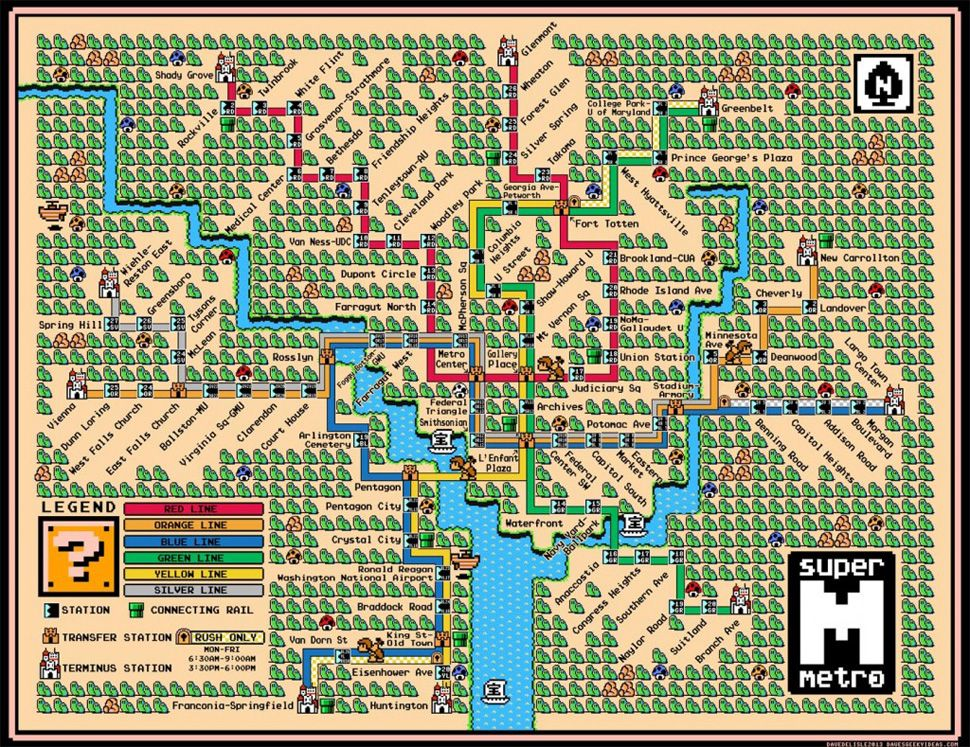 Washington DC\'s Metro Line Makes A Perfect Super Mario World Map ...