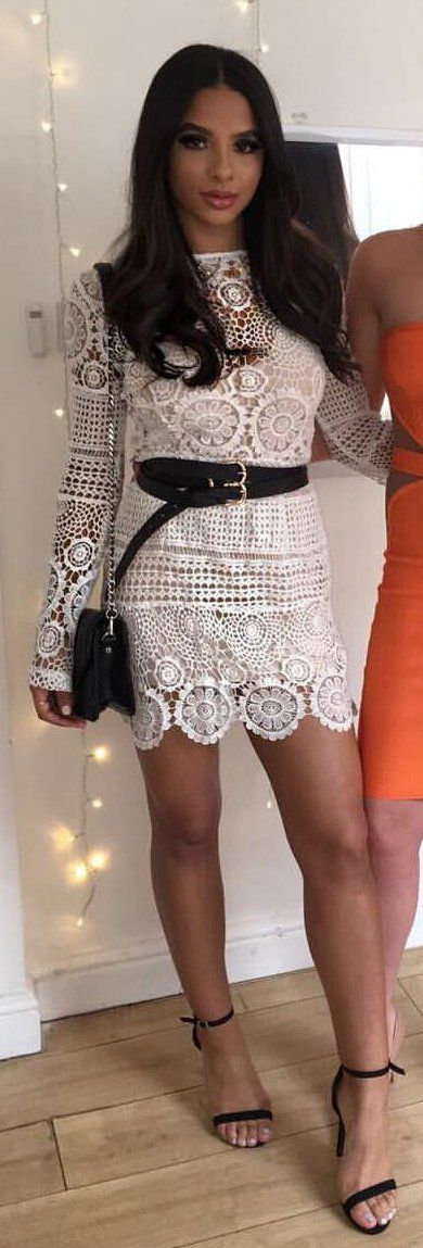 #summer #outfits White Lace Dress + Black Sandals