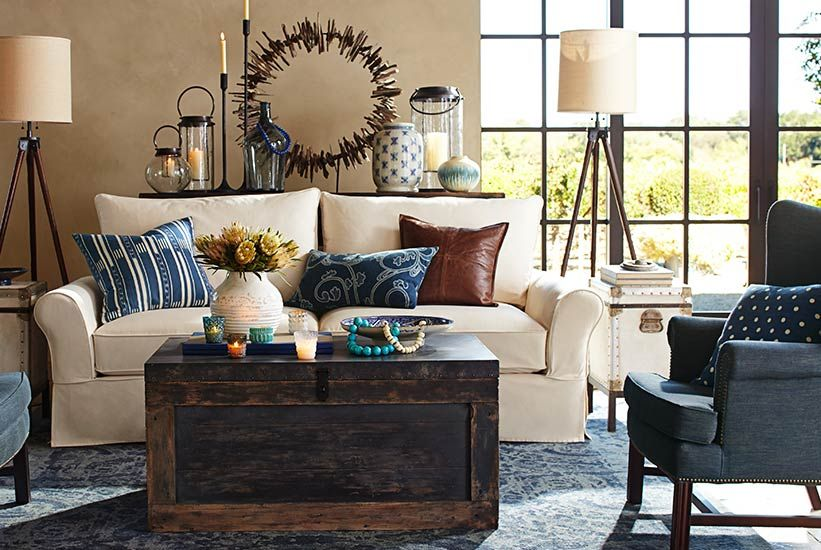 Color Story Indigo Pottery Barn Pottery Barn Living Room Eclectic Living Room Home Decor