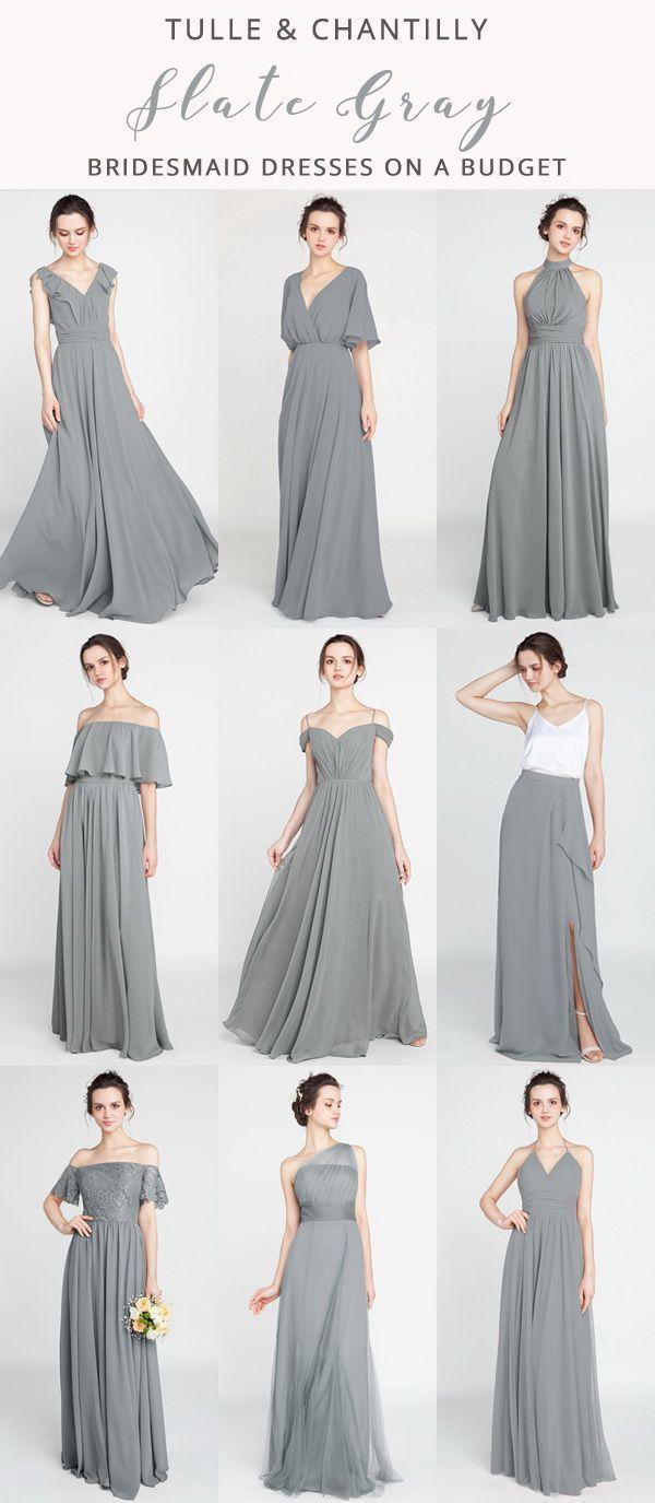 Gray Long & Short Bridesmaid Dresses: $80-$149, Size 2-30 and 50+ Colors Bridesmaid Dresses gray bridesmaid dressesSlate Gray Long & Short Bridesmaid Dresses: $80-$149, Size 2-30 and 50+ Colors Bridesmaid Dresses gray bridesmaid dresses