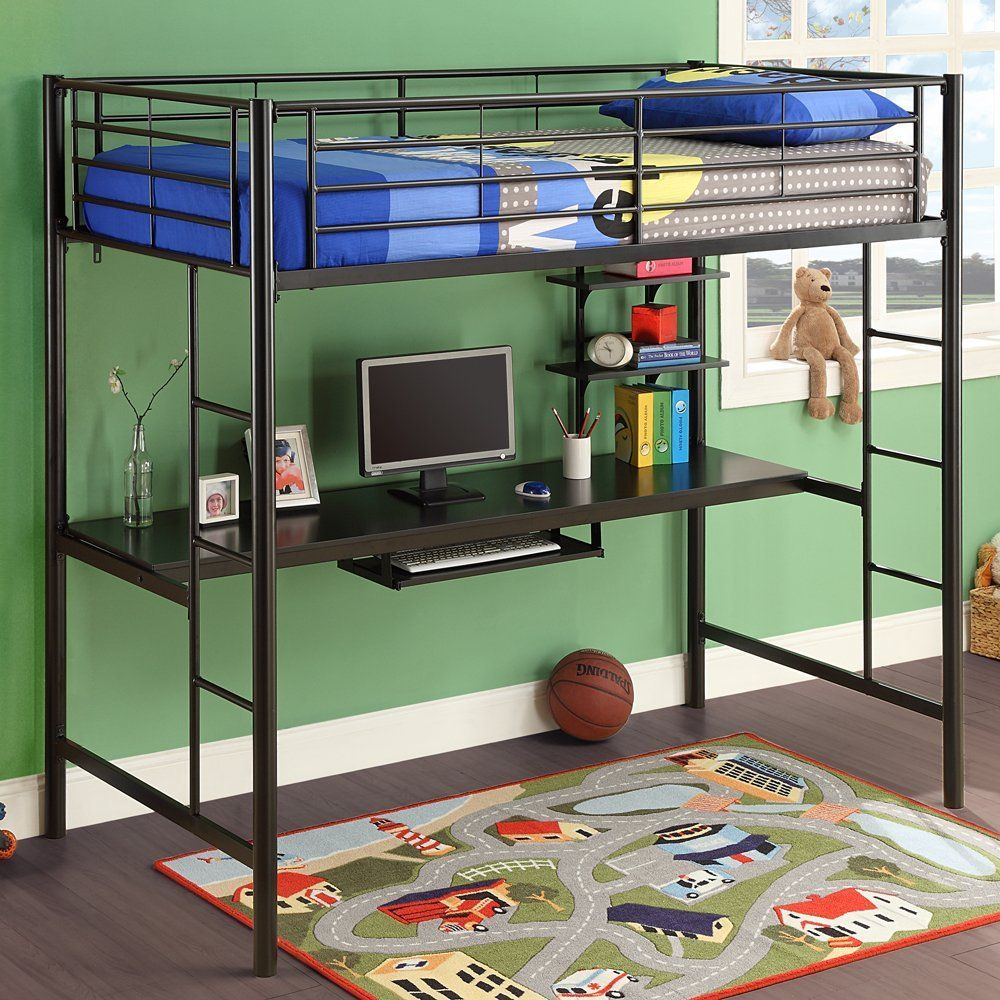 Uncategorized Kids Loft Bed With Desk Underneath amazon com walker edison black metal twin loft bed with bunk bed